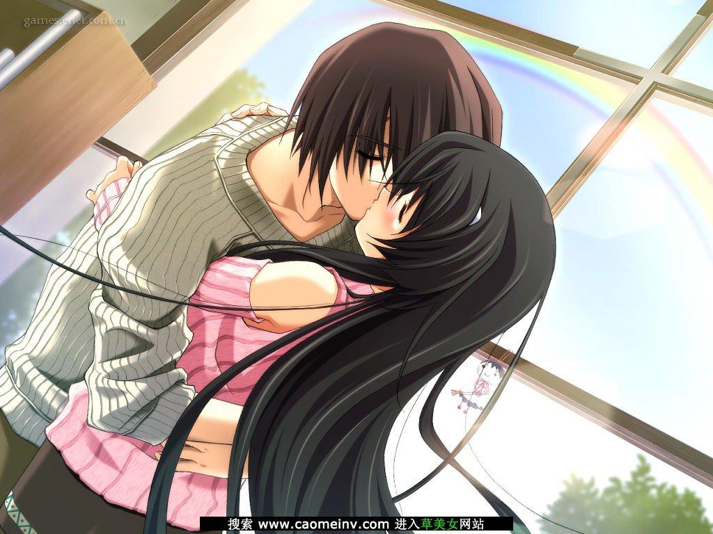 卡通动漫情侣亲嘴亲吻热吻图片(2)