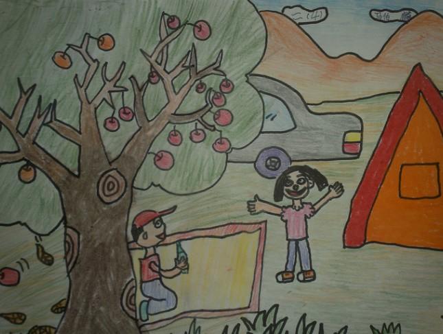 秋天的苹果树图画图片大全_秋天的苹果树图画图片