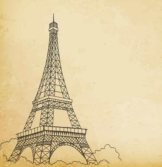 巴黎铁塔铅笔画步骤图-埃菲尔铁塔简笔画