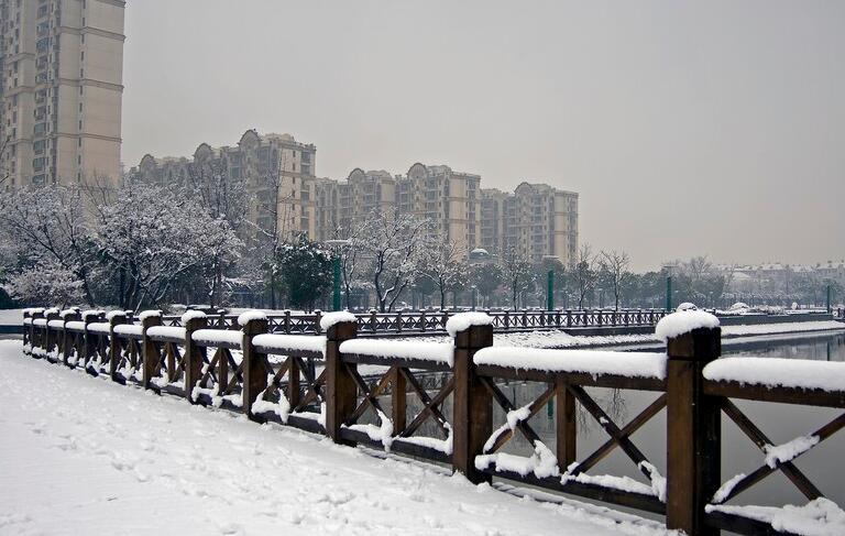 上海街上雪景图片