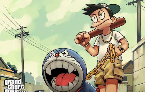 哆啦a梦毁童年图片:大雄把哆啦a梦不再是朋友了,大雄把机器猫用一图片